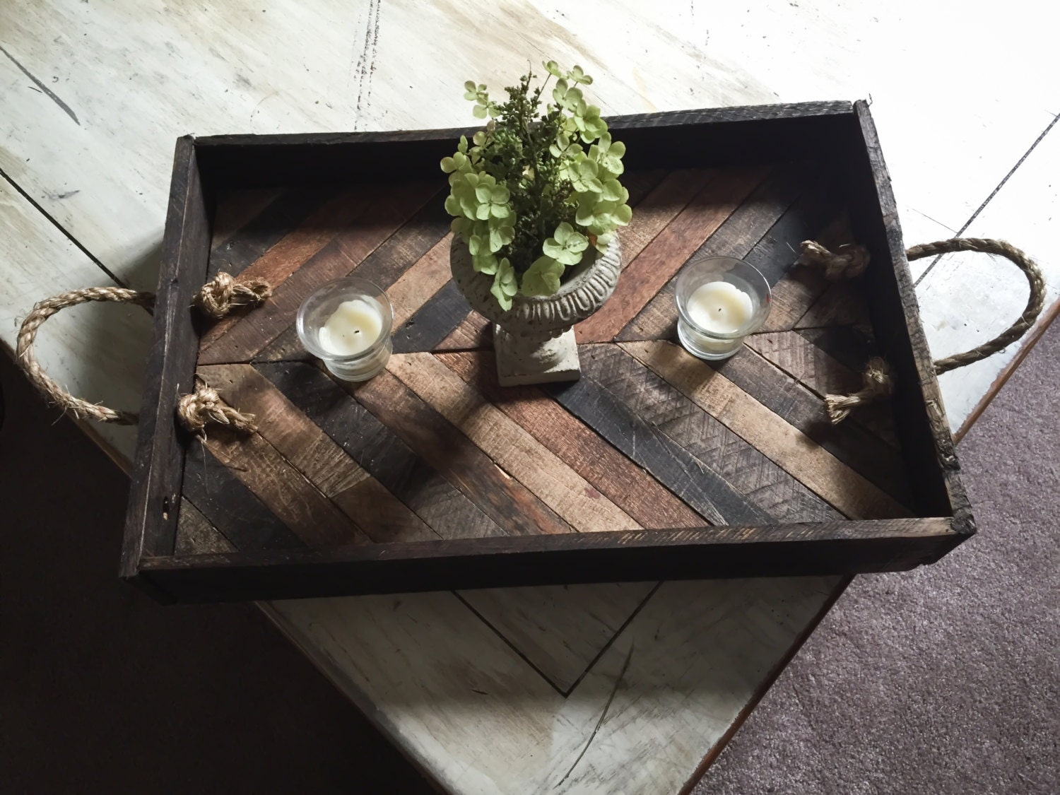 Rustic Wooden Coffee Table Serving Tray With By Crtcreative