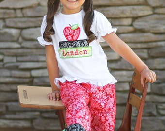 Girl's School Outfit with Apple Book School Shirt and Damask Ruffle Pants - F50, F65