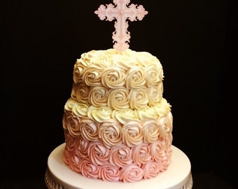 Religious Cross (Baptism / Christening) -  - Cake Topper - Pink and White