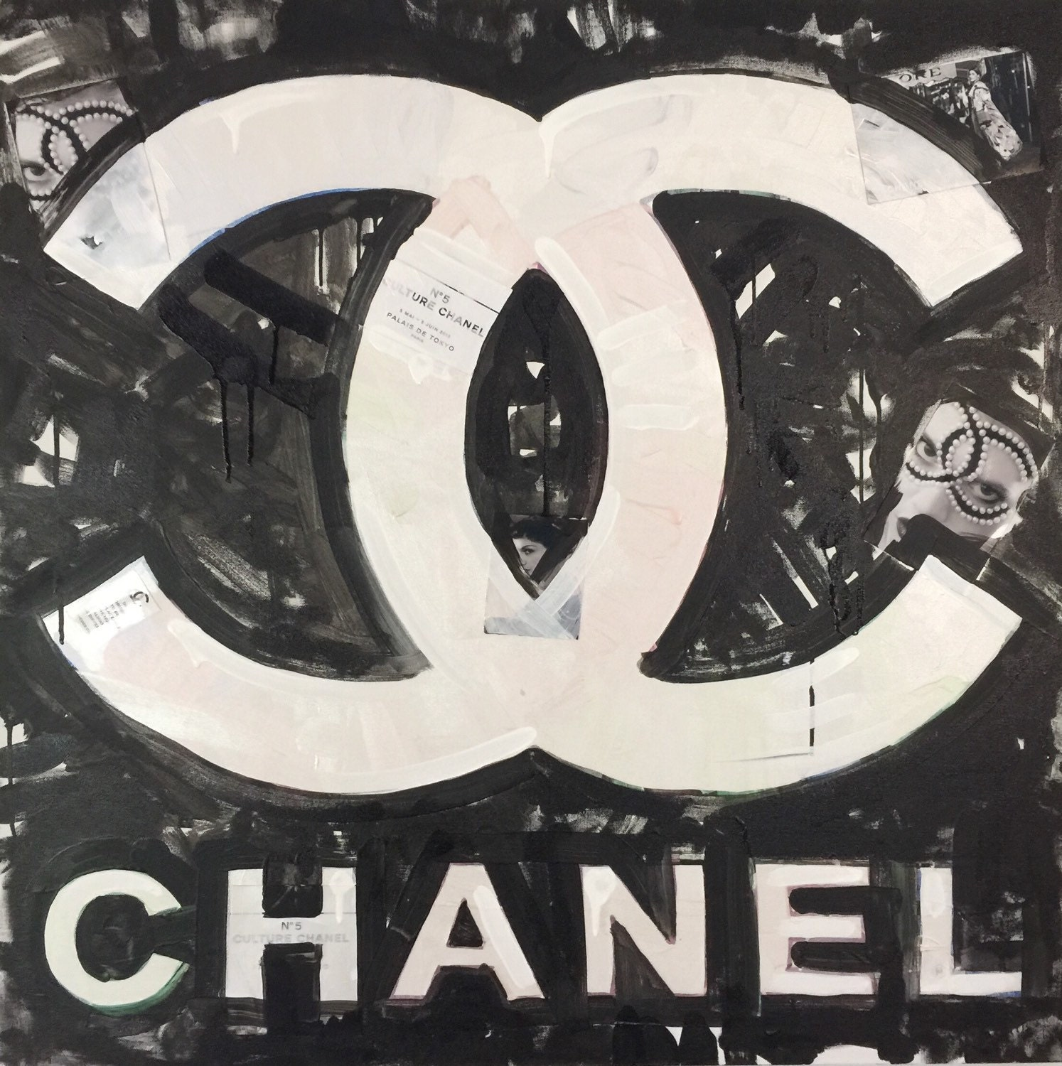 chanel art coco chanel logo by matt pecson pop art painting. Black Bedroom Furniture Sets. Home Design Ideas
