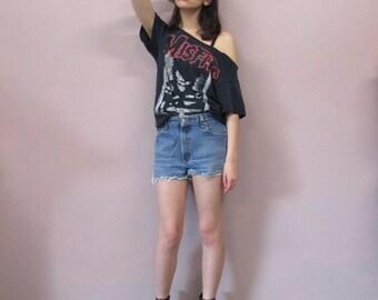 Levi High Waisted Cutoff Jean Shorts//vintage Levis 550 high waist faded denim shorts hippie 90s grunge baggy/waist 27 28 29