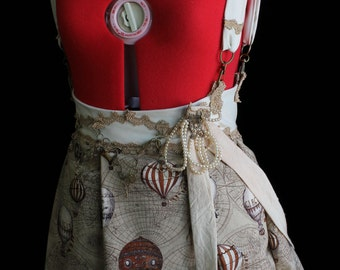 Steampunk Explorer Charms Bustle Skirt with Back Trail xs, s, m, l, xl
