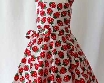 Strawberry Party Dress, Birthday Dress, Strawberry Dress, Retro Dress, Girls Red Dress, Toddler Dress, Girls Dresses, Girls Party Dress