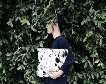 Cowhide Fold Over Clutch | Hair on Hide Bag | Purse | Pouch | Foldover | Black and White