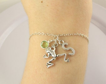 Frog Bracelet- choose a birthstone and initial, Frog Jewelry, Frog Gift, Personalized Frog, Frog Charm, Silver Frog, Birthstone Frog