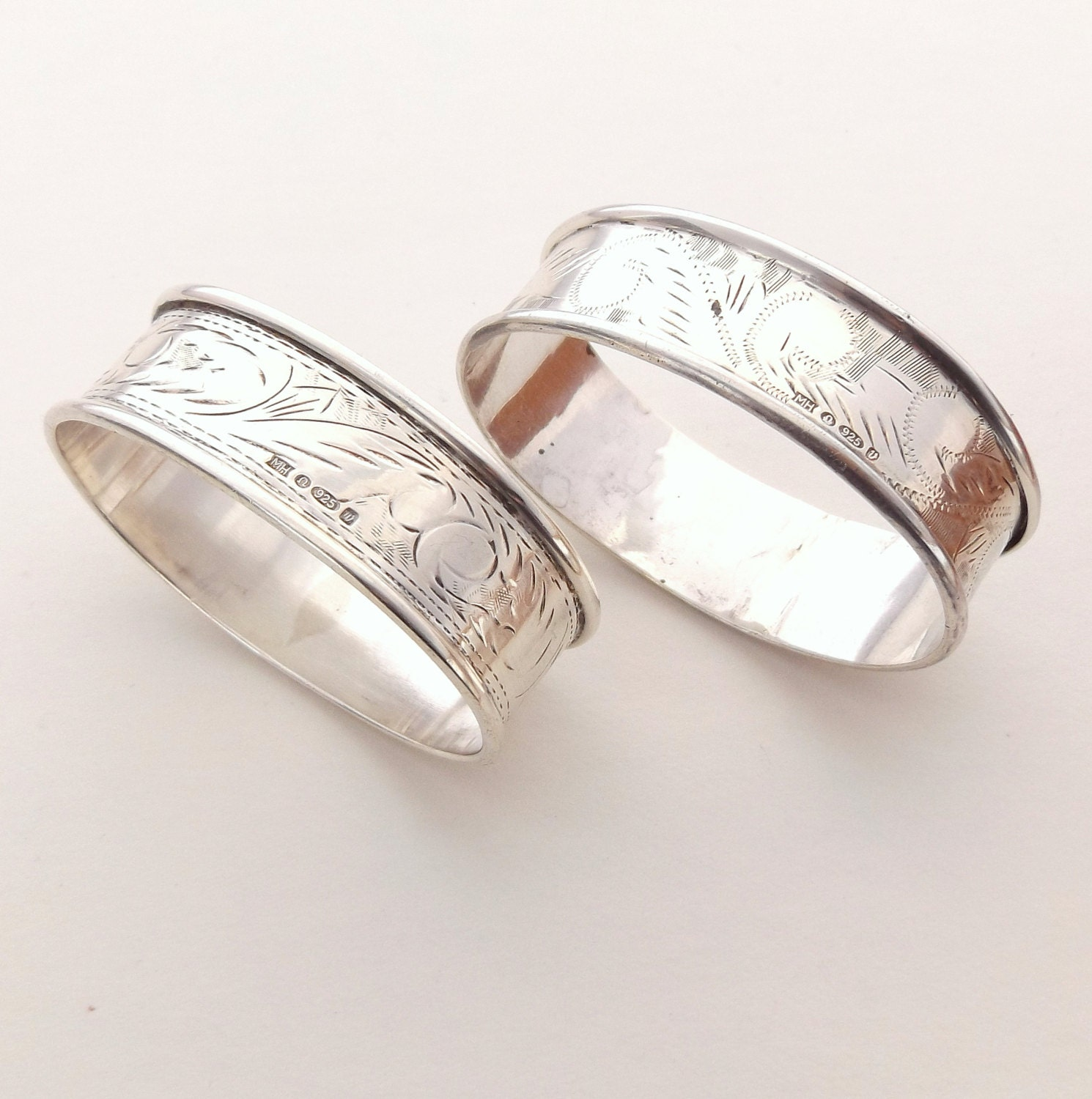 pair of silver napkin rings engraved hallmarked sterling