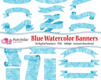 Blue watercolor banners clipart. Digital clip art. Commercial & personal Use. Instant Download. Turquoise labels ribbons PNG baby its a boy.