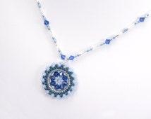 Swarovski crystal pendant necklace, blue, circle pendant, blue beaded pendant necklace, seed bead pendant, circular pendant, dark blue, 211