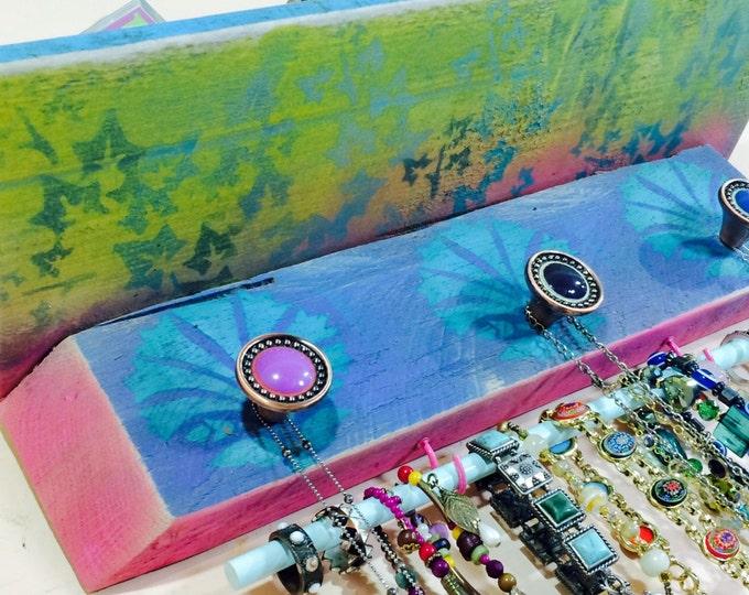 Floating shelves /Hanging shelf /jewelry holder shelving wall organizer reclaimed pallet wood Art Deco shells 3 knobs 2 hooks bracelet bar