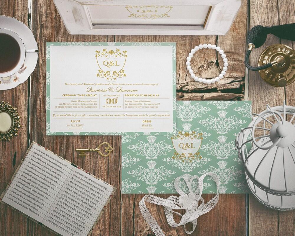 Mint Green And Gold Wedding Invitations: DIY Classic Mint Green And Gold Wedding Invitation With Regal