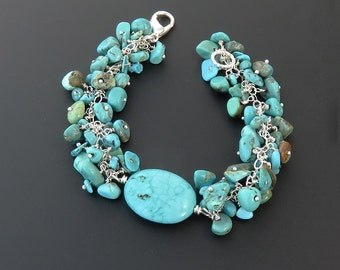 """Turquoise Cluster Bracelet with Smooth Oval Focal Bead and Sterling Silver Findings  - 7.5"""""""