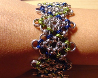 Japanese Diamond Aluminum Chainmaille Bracelet, silver, lime green, and royal blue