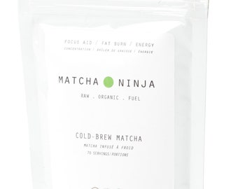 Ceremonial Grade Organic Matcha Green Tea. 70 servings. Non-bitter. Cold water soluble.