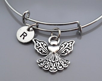 Angel bangle, Silver angel charm bracelet, Angel wings, Guardian Angel, Angel charm jewelry, Expandable bangle, Personalized bracelet