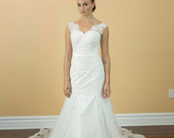 Princess Luxury Lace Crystals Pearls Wedding Dresses Bridal Gowns Custom Made, Classic Wedding Dress