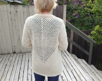 Natural White Handspun, Handknit Alpaca Cardigan - Lace Openwork - Tunic Length - 3/4 Sleeve - Warm & Cozy!