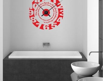 How long a minute is depends on which side of the bathroom door you're on CLOCK WALL DECAL w/ quote Interior decor