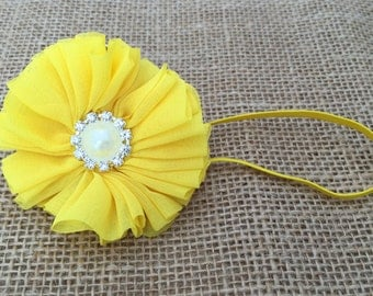 Newborn headband, Yellow flower headband, Baby flower headband, Girls yellow headband, Baby headband, Headband for newborn, Girls headband