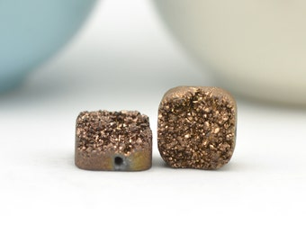 Bronze Druzy Beads | Chocolate Druzy Quartz | Druzy Square 12mm Beads | Bronze Druzy Quartz Drilled | 2 Bronze 12mm Druzy