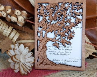 Tree of life wedding invitation / wood wedding invitation / autumn wedding invitation / handmade invitation / unique wedding invitation