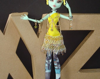 Monster High Fashion Crocheted Wire Floating Skirt Crystal Matrix Judy Jetson Inspired Chained Sterling Harness Avant Garde Hemline Details
