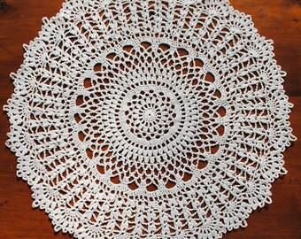 """Crochet doily, white lace doilie, 15"""""""
