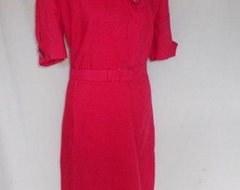 Vintage dress 80s  by Riddella pencil wiggle dress pink size small medium UK 10 12