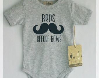 Funny baby boy clothes. Bros before bows baby romper. Baby boy cute clothes. Many colors available.