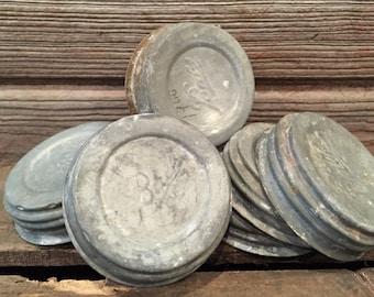 MASONjar {Lids} | One (1) Aged, Vintage Mason Jars Lid; Old Ball Mason Jar lids; Zinc canning lids