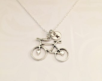 Antique Silver Bicycle Necklace with Initial of Choice Gift for Bicyclist Bike Rider, Bicycle, Bike, Bike Racer, Hiker, Bike Race Jewelry