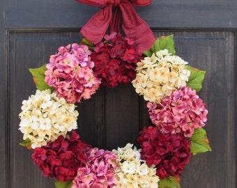 Valentine Wreath for Front Door, Wreath for Valentines, Wreath for Spring, Hydrangea Wreath, Spring Wreath, Valentines Day Wreath for Door