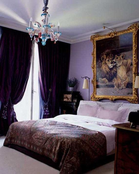 Items similar to royal purple silk curtain dupioni silk - Lamparas de dormitorios ...