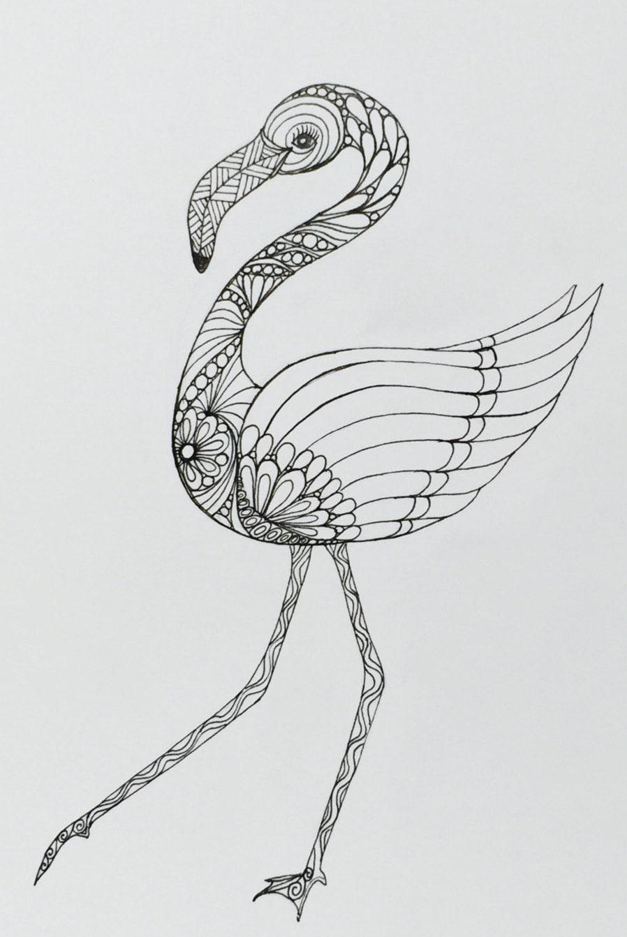 Flamingo Art Zentangle Drawing Of Flamingo Wall Decor