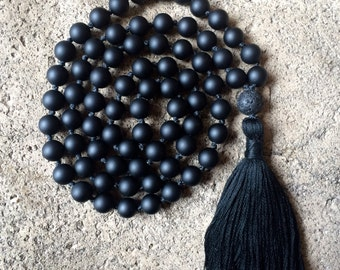 Black Onyx 72 Bead Hand Knotted Mala Necklace, Lava Guru Bead, Handmade Tassel, Yoga Jewelry, Meditation, Prayer Beads, Bohemian, Boho
