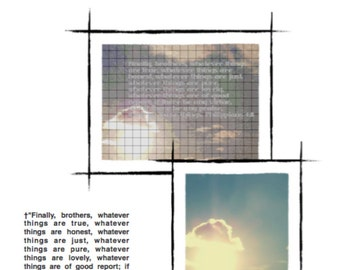Instant Digital Download Cross Stitch Pattern Bright Sun and Sky, Philippians 4:8 †