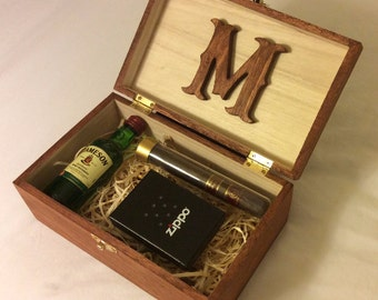 Personalized Stained Wood Box, Groomsman Gift Box, Groomsman Cigar Box