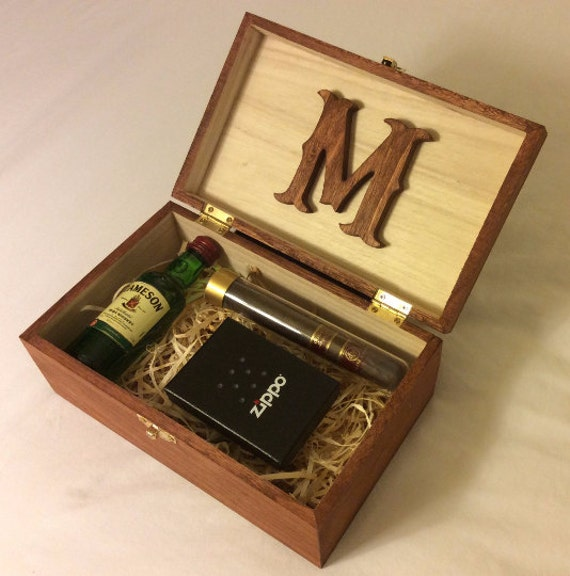 Personalized stained wood box groomsman gift