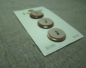Two Tone Tan Buttons on Original Button Card. NOS. Sew Through Button.