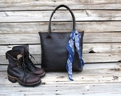 Perfect Leather Tote Bag  /  Hand stitched leather Bag / Laptop Tote / Unisex / Everyday Leather Tote / Feral Empire
