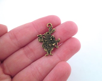 Alice in Wonderland White Rabbit Charms, Brass Plated, G17 pick your amount
