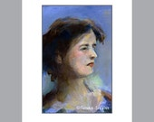 Irish Lady Blue Portrait Study of Woman in Blue Young woman in Blue Fine Art Limited Edition Impressionistic Free US Shipping and Insurance