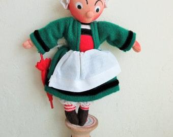 Vintage French Doll, Becassine Doll, Folk Doll, Christmas Ornament, Doll with Umbrella, Cute Kawaii Zakka, Holiday Decor, Retro Doll, Breton