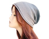 Slouchy Knit Beanie Knit Cotton Hat Grunge Beanie Womens Hat Cotton Beanie Hat Knit Cap Knit Hat For Women Grey Slouchy Hat Ombre Hat