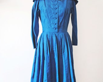 50's Teal Blue Dress Sz S