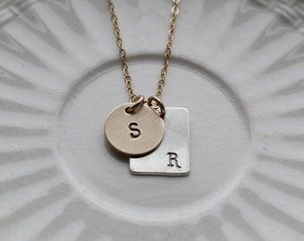 gold filled sterling charm necklace, personalized gold initial necklace, sterling initial necklace, mommy necklace, custom engraved jewelry