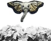 Elephant Butterfly Necklace, Elephant Necklace, Butterfly Necklace, Animal Jewelry, Elephant Jewelry, vegan jewelry, vegan necklace - GOLD