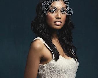 Masquerade Mask, Birdcage Veil, Wedding Veil, Bandeau Veil, Bridal Veil, Cage Veil, Mask Veil, Veil with Crystals, Russian Netting Veil