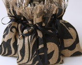 "Burlap Favor Bags, Set of SIX, Damask Leaf, Shabby Chic Wedding, All Occasion, Black and Natural, Black Ribbon Tie, Size: 5"" X 7""."