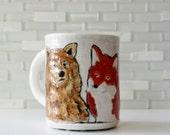 Bear and Fox Mug | Brown Bear Red Fox couple | woodland animals | coffee mug tea cup | love wedding couple mug | made to order