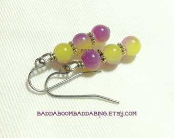 Lemon Lavender Dangle Earrings Surgical Steel Earwires